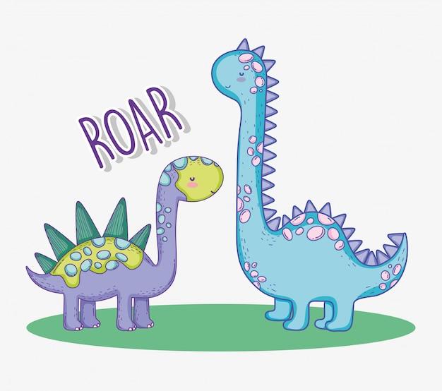 Stegosaurus mignon et diplodocus animal de la faune