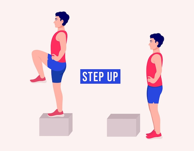 Step up exercice femme entraînement fitness aérobie et exercices