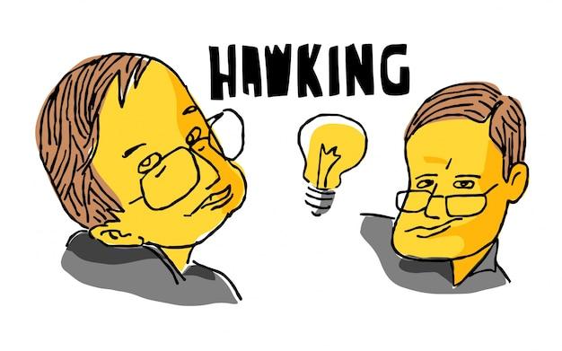 Stephen hawking en croquis jaune et noir