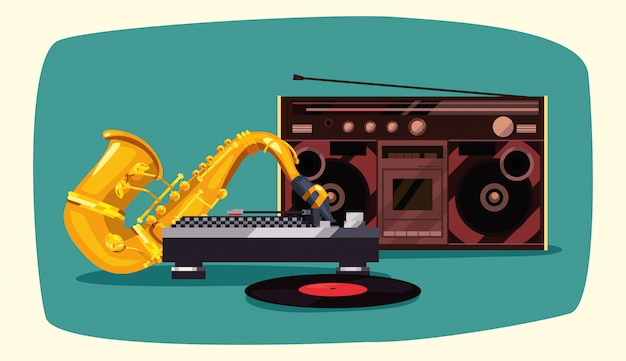 Stéréo boombox du saxophone rétro funk