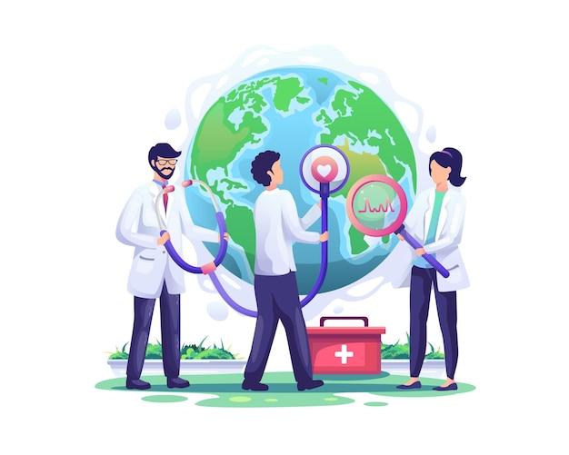Stéthoscope dans l'ordre de la journée mondiale de la santé