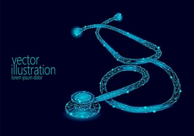 Stéthoscope de médecine low poly journée mondiale des soins de santé. polygonal