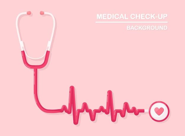 Stéthoscope médical sur fond. santé, recherche de cœur.