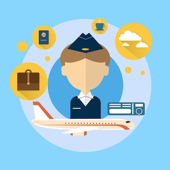Steward airport crew icon illustration vectorielle plane