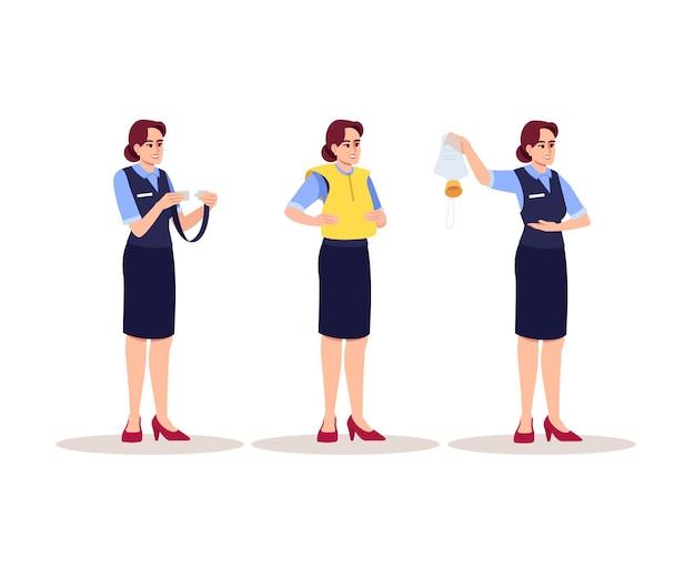 Stewardes instructions d'urgence ensemble d'illustrations vectorielles couleur rvb semi-plat. une hôtesse d'avion montre les règles de sécurité. membre du personnel de l'avion personnage de dessin animé isolé sur fond blanc