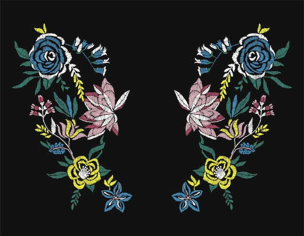Stiches roses fleurs