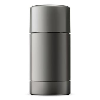 Stick déodorant. conteneur noir pour hommes anti-transpirant. pack 3d pour désodoriser le gel. tube hygiénique de luxe. vide d'emballage frash avec rouleau en plastique