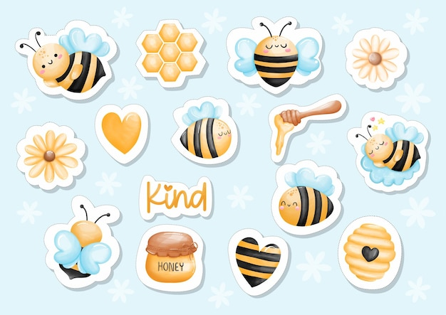 Sticker abeille aquarelle
