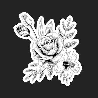 Sticker bouquet de fleurs noir et blanc avec une bordure blanche
