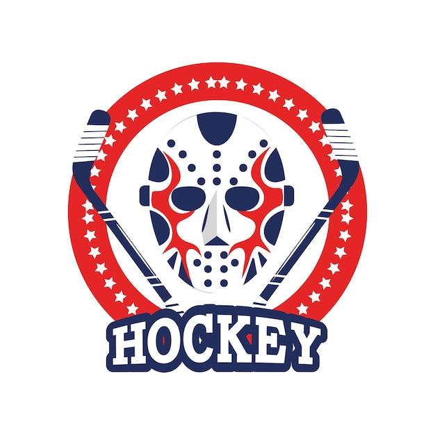 Sticker cercle avec masque de hockey et bâtons
