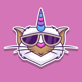 Sticker chat licorne avec lunettes
