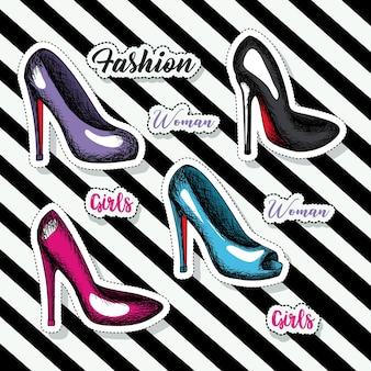 Sticker chaussures à talons colorés