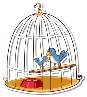 Sticker deux petits oiseaux dans une cage