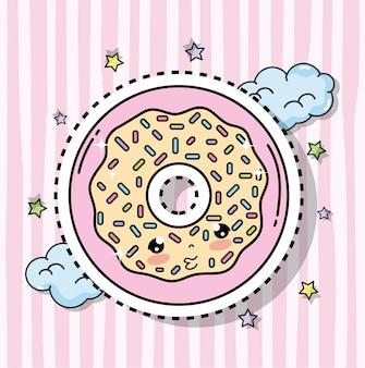 Sticker donut kawaii avec nuages et étoiles