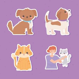 Sticker fille animaux
