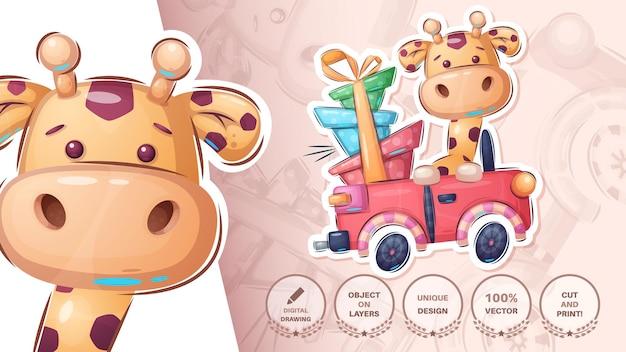 Sticker girafe dans la voiture cte