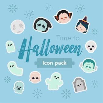 Sticker halloween illustration dessinée à la main
