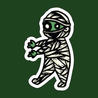 Sticker halloween personnage momie