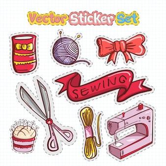Sticker patchs ensemble de couture icône