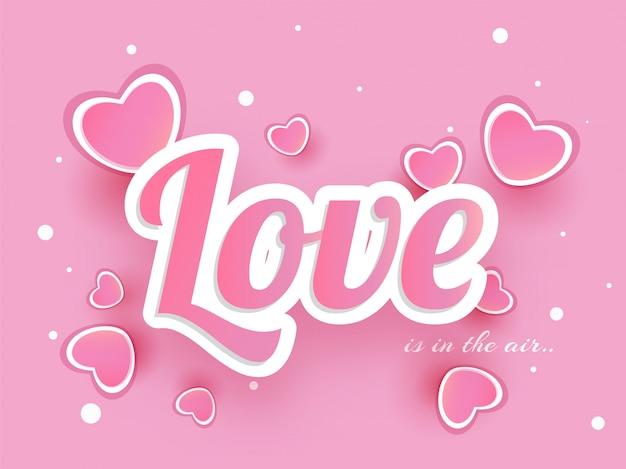 Sticker style text amour orné de coeurs