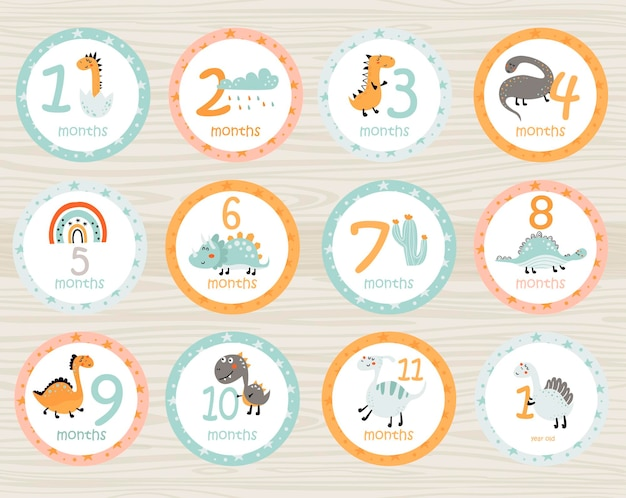 Stickers bébé mensuels avec dinosaures et objets cartes imprimables