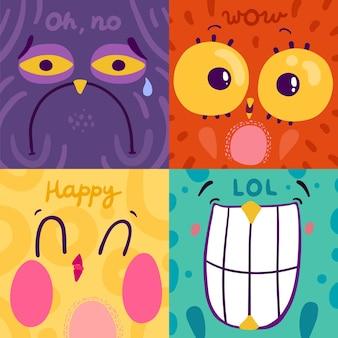 Stickers chouette émotion plat coloré