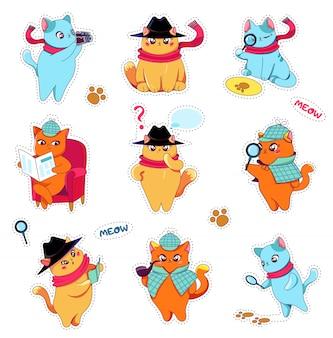 Stickers détective cats set dans un bonnet et une écharpe.