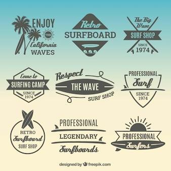 Stickers pack avec des éléments de surf