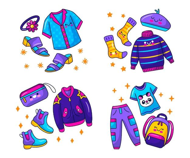 Stickers vêtements et accessoires kawaii