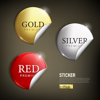 Stikcer set cercle moderne couleur or argent et rouge