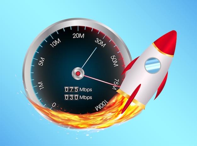 Stimuler le compteur de vitesse internet avec une fusée jouet