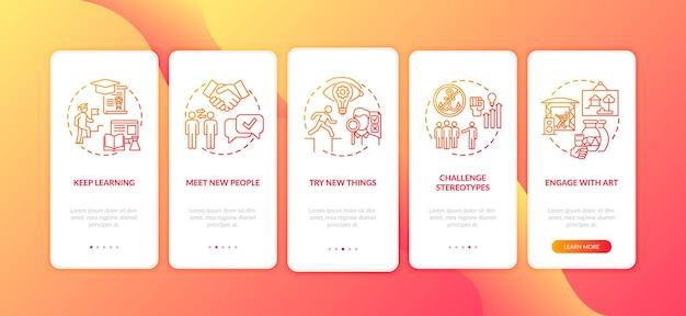 Stimuler les conseils de réflexion créative sur l'écran de la page de l'application mobile d'embarquement avec des concepts