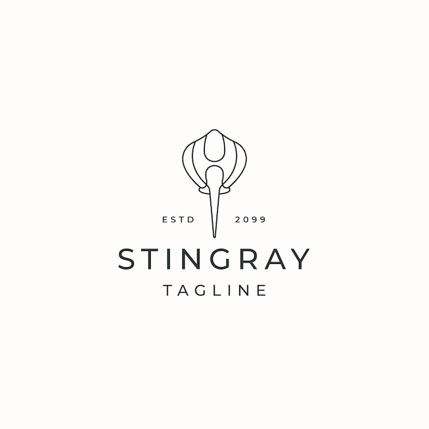 Stingray animal logo icône design modèle vecteur plat