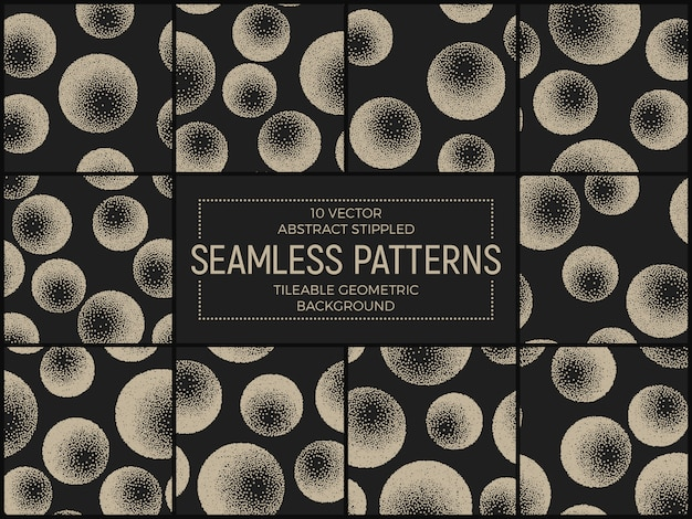Stippled abstract seamless patterns set