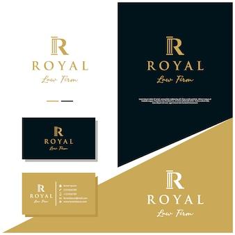 Stock de conception de logo de cabinet d'avocats royal avec conception de cartes de visite