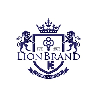 Stock de conception de luxe logo clé lion isolé sur blanc
