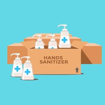 Stock de désinfectant pour les mains sur la boîte