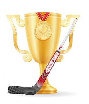 Stock d'or gagnant d'une coupe de hockey.