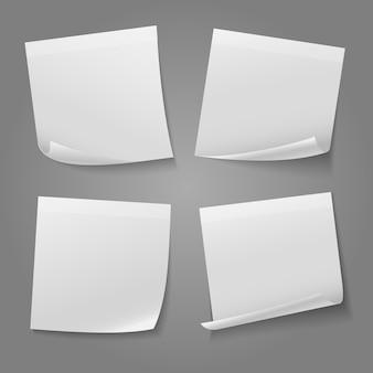 Stock de vecteur d'autocollant papier mémo carré blanc blanc. illustration d'autocollant de note de message