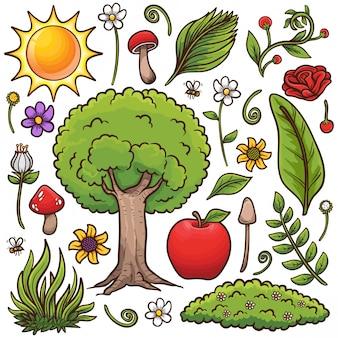 Stock de vecteur dessiné à la main nature doodle isolé sur fond blanc