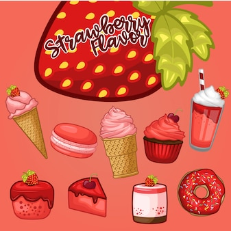 Stock vector set de desserts à la fraise