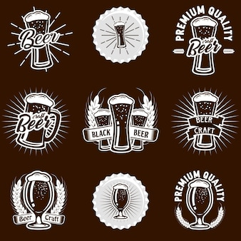 Stock vector set illustration logo bière