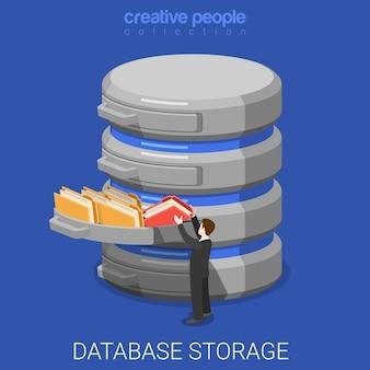 Stockage de base de données isométrique plat