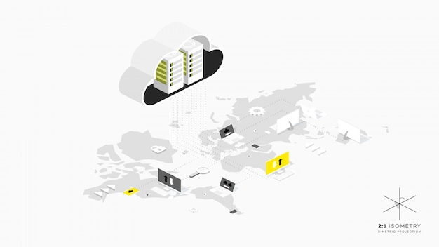 Stockage cloud isomertique. concept d'hébergement web.