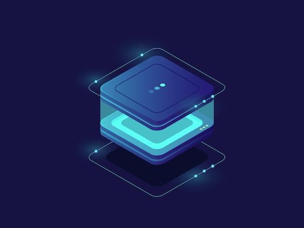 Stockage de données, icône de protection des données personnelles, salle de serveurs, base de données et centre de données