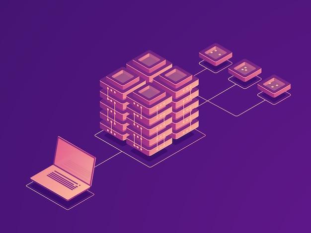 Stockage de données en nuage, routage du trafic internet, salle des serveurs, flux de données pour ordinateurs portables, téléchargement de données à distance