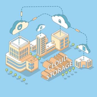Stockage de données en nuage vecteur plat 3d illustration concept isométrique.