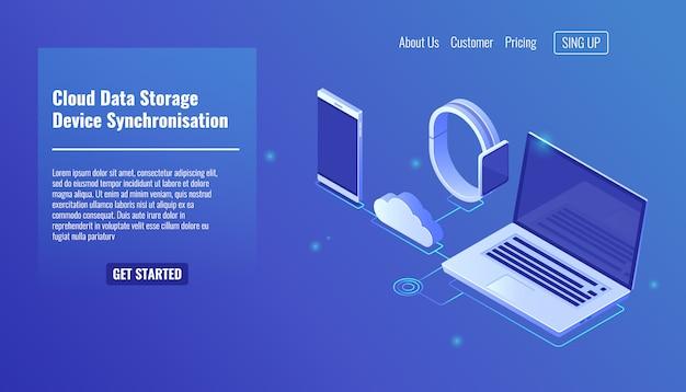 Stockage du serveur de données cloud, synchronisation des données des appareils électroniques