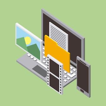 Stockage informatique avec lettre de dossier de téléphone portable photos