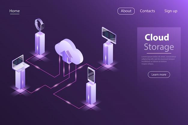 Stockage en ligne cloud isométrique plat